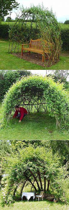 Как сделать беседку из ивы в саду: много интересных фото и понятные инструкции.