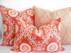 Super nice for the patio outdoor sofa BOTH SIDES Coral Suzani Decorative Designer by thecottagecupboard, $35.00