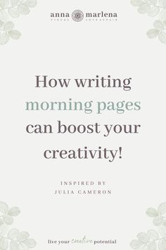 Writing Morning Pages I Creative Flow by Anna Marlena Julia Cameron, Morning Pages, Authentic Self, Creative Activities, Creative Writing, Live For Yourself, Flow, How To Become, Anna