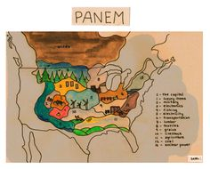 Panem  found on: http://capecodcollegiate.tumblr.com/  from: http://butthorn.tumblr.com/post/13563376319/a-map-of-panem-i-tried-to-be-as-accurate-as