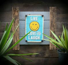 Do you know someone who needs cheering up? I recon this might do it! Delightfully happy tin sign mounted on recycled timber frame which measures 45cm x 45cm approx......$70 www.newagerusticdesigns.com.au or email newagerustic@gmail.com or sms 0418-315-890