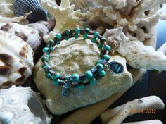 Turquoise and stone memory bracelet by ShesailsnPineapples on Etsy, $17.50