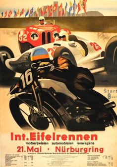 International Eifelrennen 1939 Nurburgring BMW Audi Mercedes - original vintage car and motorcycle racing event poster by Alfred Hierl listed on AntikBar.co.uk