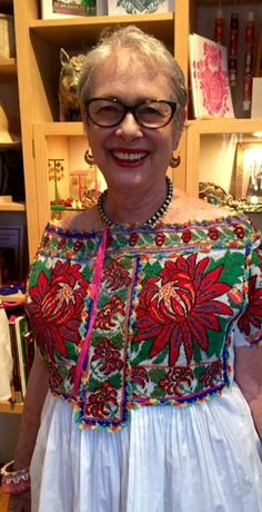 Chatino blouse from the Oaxaca coast, heavily embroidered with cross stitch.