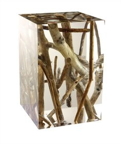 """morestudio: """" KISIMI by Blue Nature The acrylic glass blocks imprison the wood """""""