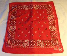 Vintage Red Handerkerchief Bandana All Cotton by ilovevintagestuff