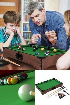 FYI: Kids Billiard Tabletop Table Set Mini Pool Game Room Family Fun Complete Green