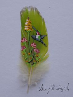 Hummingbird painted feather