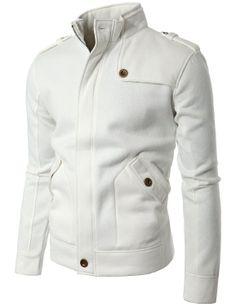 Doublju Mens Shoulder strap Zip Up Jacket: Clothing