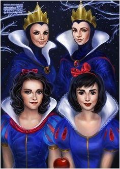Battle of the Snow Whites   Charlize Theron (Queen) and Kristen Stewart (Snow White) and Julia Roberts (Queen) and Lily Collins (Snow White)