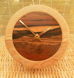 lathe clock | Clock, Hand Cut Wood Veneered Face and Lathe Turned Surround £45.00