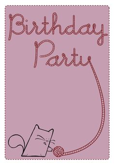 Free Printable Birthday Party Cat Invitation