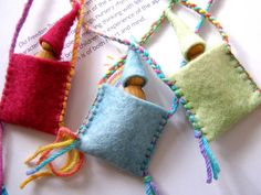 Gnome in a Pouch - Handmade in Australia - A Waldorf inspired wee gnome necklace., in a Pouch - Handmade in Australia - A Waldorf inspired wee gnome necklace. Handmade Shop, Handmade Toys, Waldorf Crafts, Diy Waldorf Toys, Clothespin Dolls, Tiny Dolls, Felt Toys, Felt Crafts, Craft Fairs
