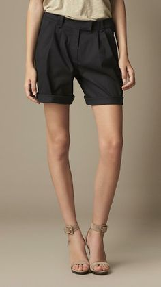Burberry Brit Pleat Detail Cotton Twill Shorts