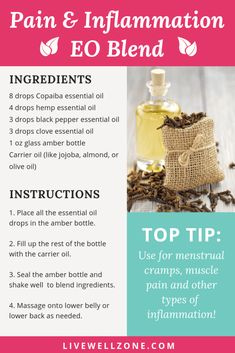 Struggling to find natural inflammation remedies that actually work? Then try this pain relief essential oils recipe. Copaiba Oil, Copaiba Essential Oil, Clove Essential Oil, Essential Oil Diffuser Blends, Essential Oil Uses, Black Pepper Essential Oil, Anti Inflammatory Essential Oil, Essential Oils For Inflammation, Essential Oils For Pain