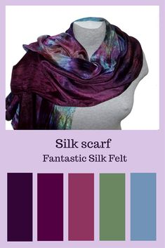 Hand painted silk scarf with a shade of purple, violet, blue. This original design is hand painted on to 100% pure silk. It can be worn around the neck in a variety of different ways.  This silk scarf is a lovely combination of skills and freedom and it is impossible to create the same - all colors are mixed from different shades. #silk #silkscarf #giftforher  #accessories
