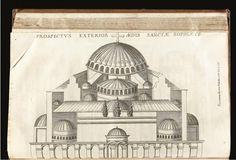 Hagia Sophia-Ayasofya-Exterior view of Saint Sophie, HISTORIA BYZANTINA DUPLICI COMMENTARIA ILLUSTRATA, 1680,  DU CANGE, CHARLES DU FRESNE (1610-1688)