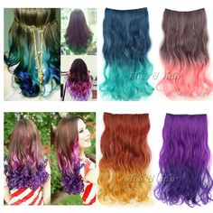Top fashion 50cm long curly Ombre Rainbow Women Synthetic Clip in on Hair Extensions Double color gradient free shipping $9.99