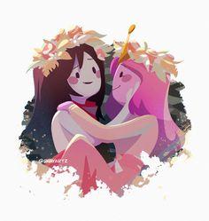 Adventure Time Marceline, Adventure Time Anime, Bubbline, Adveture Time, Marceline And Princess Bubblegum, Cartoon Ships, Fanart, Lesbian Art, Animation