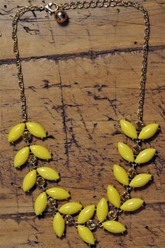 Yellow Fleur Crystal bib bubble necklace by TheCucumberSandwich, $16.50