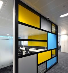 Office Tour: Monitise's New Collaborative London Headquarters Corporate Interiors, Office Interiors, Mondrian, Design Furniture, Office Furniture, Office Workspace, Office Decor, Yellow Office, Office Fit Out