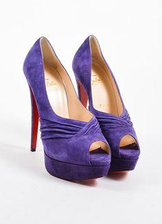 Purple Suede Christian Louboutin Drapadita 150 Peep Toe Pumps