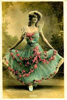 Photo Woman w Pink Roses on Blue-Green Dress