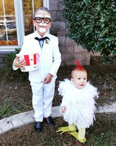 clayton and oliver as colonel sanders and a chicken halloween costume siblings costume halloweencostume - Halloween Ideas For Siblings