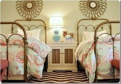 Girl's Bedroom with Twin Beds.  Design by Darlene Weir of Fieldstone Hill Design.
