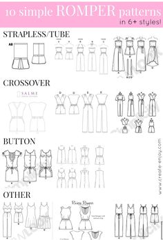 A collection of easy-to-sew romper/playsuit patterns in several styles, great for summer weather