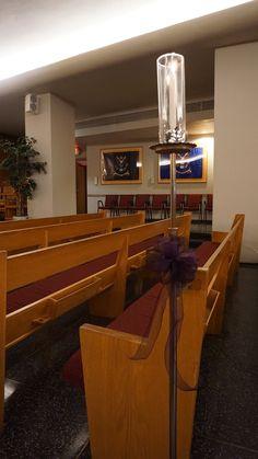 #vtwmc | Dark Purple Bows | Nickel Aisle Candle | War Memorial Chapel