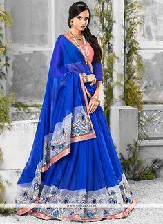 Get going with this majestic and wonderful piece and make your dream attire look richer to your persona. Keep ahead in fashion with this blue georgette and pure chiffon designer saree. The lovely embr...