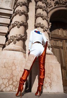 03a78e063c Vetements x Manolo Blahnik Orange Satin Boots Botas Laranja