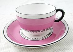 Pink and Black Tea Cup and Saucer by Grosvenor China, Vintage Bone China