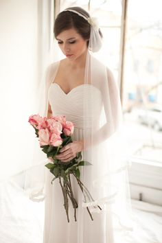 Bridal Cap Veil with Lace and Silk Flowers by MelindaRoseDesign