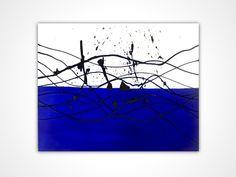 Original painting - Blue painting - living room wall art - Original oil painting original - Blue abstract painting - Splash art