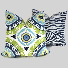 Green and Turquoise Suzani Decorative Pillow Cover by PopOColor, $45.00
