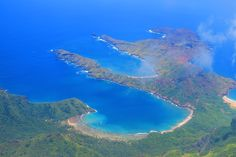 Aerial view of Anaho Bay in Nuku Hiva Island