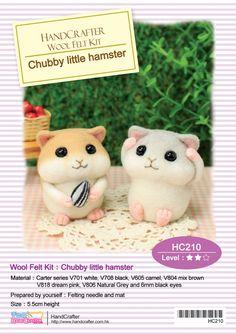 Aguja fieltro DIY lana fieltro Kit Chubby hamster pequeño: