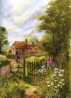 Terry Harrison Landscape Drawings, Watercolor Landscape, Landscape Art, Landscape Paintings, Watercolor Art, Art Drawings, Beautiful Paintings, Beautiful Landscapes, Pintura Colonial