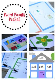 5 printable word family games. Fast and fun way to help kids learn many new words quickly.
