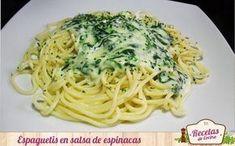 Los espaguetis son un aliemento muy recomendado para las dietas de adelgazamiento, por lo que hoy os presentamos unos acompañados de salsa de espinacas.