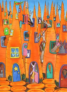 """New Artwork, """"Carrot Condos"""" Prints, cards and the original painting are available."""