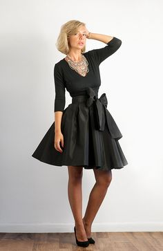 Bow Belted Full Black Taffeta Skirt by LanaStepulApparel on Etsy, $130.00