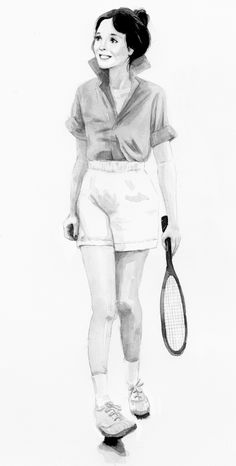 "Annie Hall  Diane Keaton    tennis outfit  ink on watercolor paper  10""x12"" - art inspiration from Jingyao Guo"