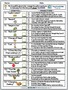 Bunch Ideas of Identifying Theme Worksheets For Middle School For ...