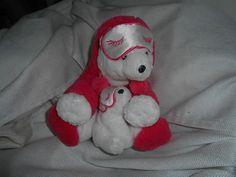bath body works plush white bear pink sleep mask set 7 2.5 new
