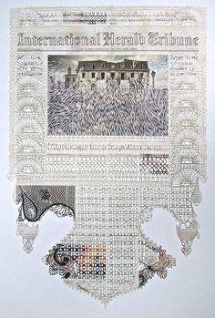 Myriam Dion découpe inlassablement la une des journaux pour en créer des dentelles délicates aux motifs riches et variés.