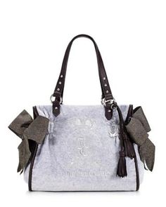 New Juicy Couture JC Monogram Grey Velour Ms. Daydreamer Handbag