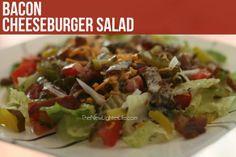 Bacon-cheeseburger-salad     Trim Healthy Mamas friendly but tasty & healthy for everyone! Trim Healthy Recipes, Trim Healthy Momma, Thm Recipes, Soup Recipes, Real Food Recipes, Healthy Foods, Healthy Eats, Salad Recipes, Free Recipes